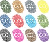Multi color fingerprint illustration suggesting individual carbon foot print reduction