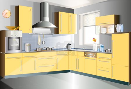 Illustration for Kitchen in a yellow color to highlight a portion of the manual. - Royalty Free Image