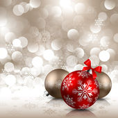 Christmas background with red and bronze baubles