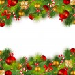 Christmas background with baubles and christmas tr...