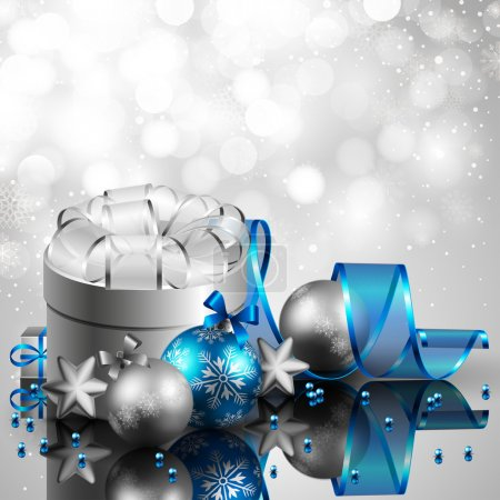 Photo for Beautiful silver and blue christmas background - Royalty Free Image