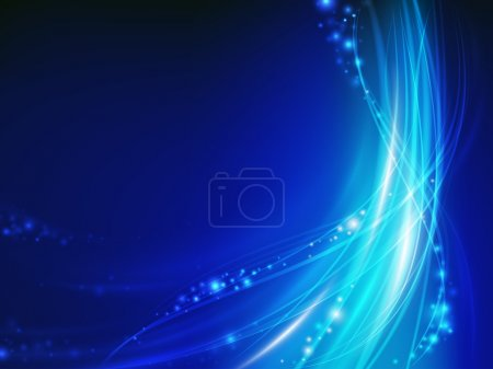 Illustration for Abstract blue glowing wave with spark - Royalty Free Image