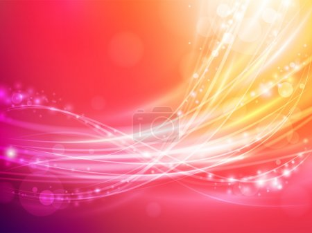 Illustration for Abstract wave with warm colors and sparks - Royalty Free Image