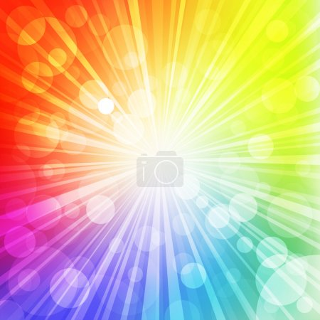 Photo for Sun with rays on rainbow blurred background. Vector Illustration. - Royalty Free Image
