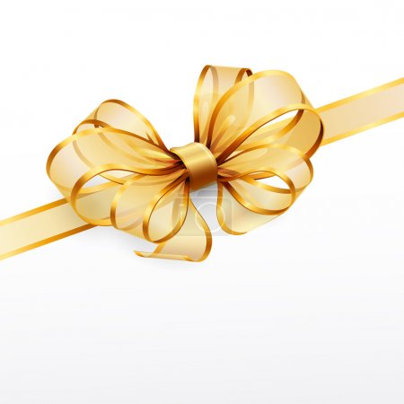 Illustration for Golden bow isolated on white. Vector illustration - Royalty Free Image