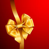 Golden bow on red background Vector illustration