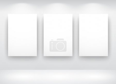 Illustration for Gallery Interior with empty frames on wall - Royalty Free Image