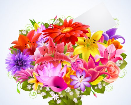 Illustration for Bouquet of tender flowers with greeting card - Royalty Free Image