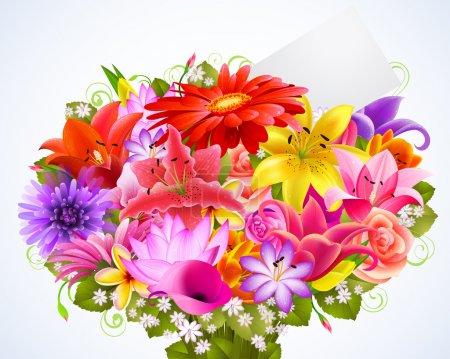 Illustration pour Bouquet de fleurs tendres avec carte de voeux - image libre de droit