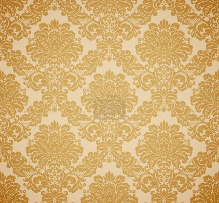 Illustration for Damask seamless floral pattern. Vintage vector illustration. - Royalty Free Image