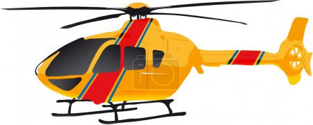 Illustration for Vectors illustration shows a yellow helicopter - Royalty Free Image