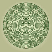 Stylized Aztec Calendar in green color vector illustration