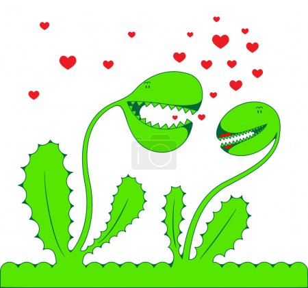 Illustration for Two fantastic green lovers Plants on a white background, vector - Royalty Free Image