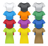 Black white and colored women t-shirts vector