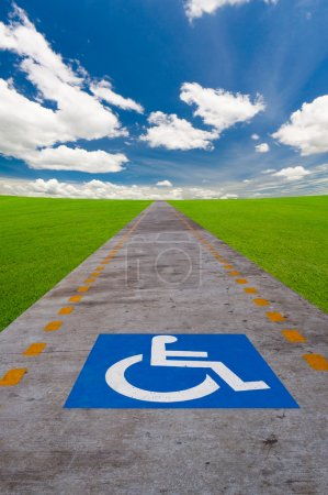 Disabled sign board on the way