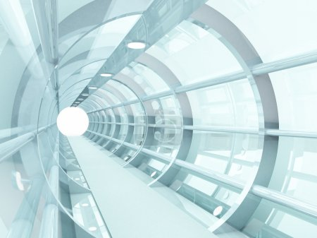 Photo for Futuristic tunnel of steel and metal, interior view. Futuristic background, business concept - Royalty Free Image
