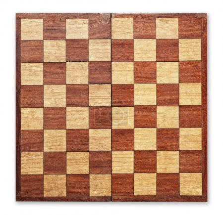 Old wooden chess board isolated.
