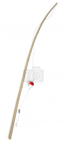 Fishing tackle pole isolated on white