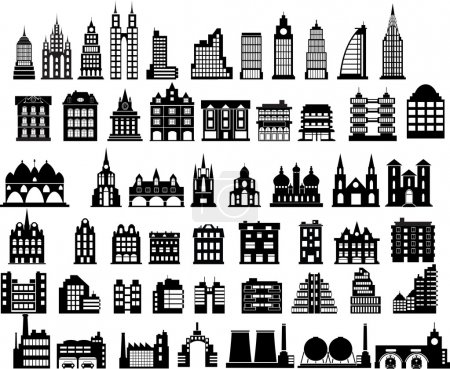 Illustration for Various variants of houses on the white - Royalty Free Image