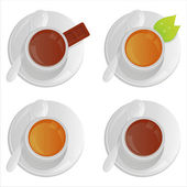 Cups with coffee and tea