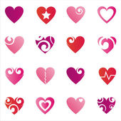 Set of 16 hearts icons