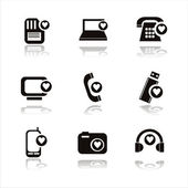 Technology with hearts icons