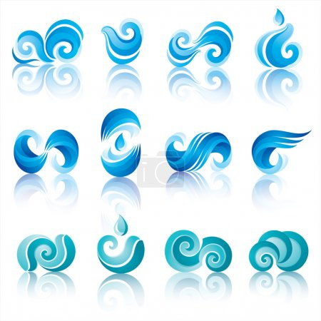 Illustration for Wave and water icons with reflection. Design elements - Royalty Free Image