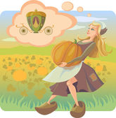 The Cinderella bears a huge pumpkin and represents that the pumpkin becomes the carriage
