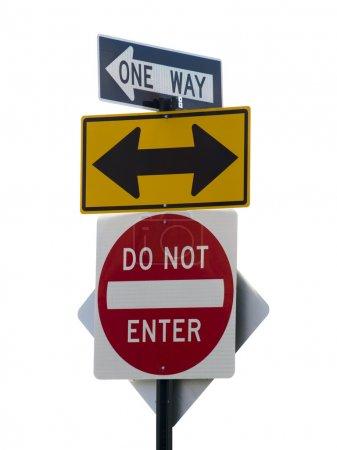 Photo pour Trois panneaux de signalisation sur fond blanc. - image libre de droit