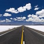A straight road across an open salt mine....