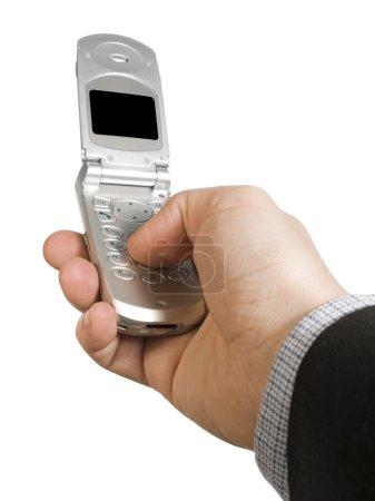 Photo pour La main d'un homme tenant un téléphone portable sur fond blanc . - image libre de droit
