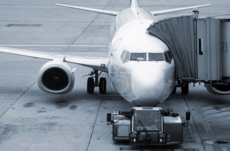 Photo for Aircraft standing at the airport ready for boarding - Royalty Free Image