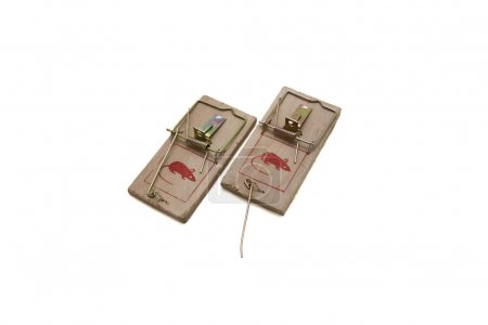 Photo for Two mousetraps on a white background. - Royalty Free Image