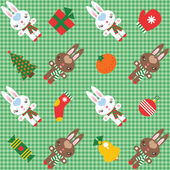 Checked pattern with cute rabbits and christmas decorations