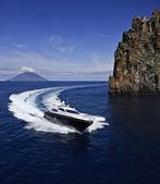 Italy, Sicily, Panaresa Island, luxury yacht, aerial view