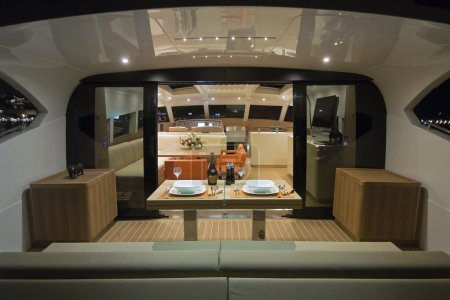 France, Cannes, luxury yacht Continental 80, dinette