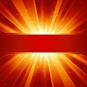 Red golden light burst with sparkling stars and space for your message