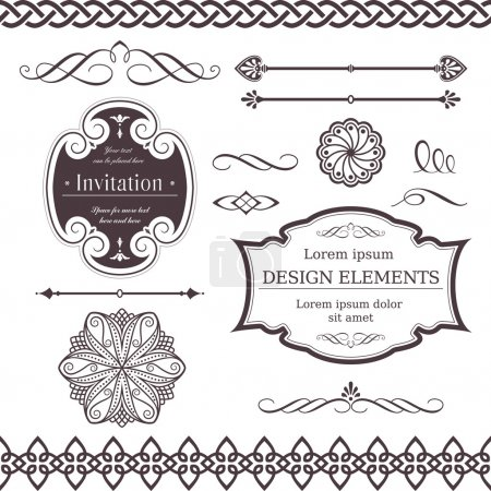 Illustration for Set of ornate vector frames, ornaments and dividers. Perfect to embellish your designs, invitations, or announcements. - Royalty Free Image