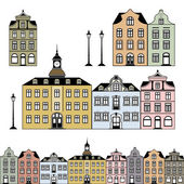 Old and historic houses in different colours isolated on white background Vector graphic includes a high resolution JPEG