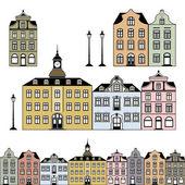 Régi lakóházak. Vektoros illusztráció