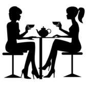 Two women drinking tee or coffee