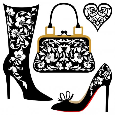 Illustration for Silhouettes of women shoes and bag with ornaments, collection of fashion and lifestyle objects. - Royalty Free Image
