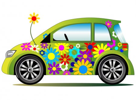 Illustration for Ecological illustration with stylized green flower power colorful car, full scalable vector graphic - Royalty Free Image