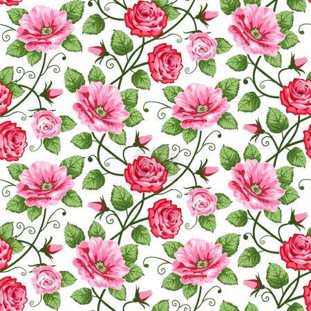 Photo pour Rose vectorielle motif sans couture sur blanc, design répétitif . - image libre de droit