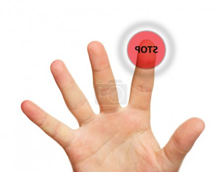 Male hand touching stop button