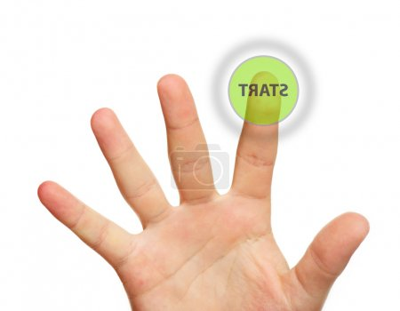 Male hand touching start button