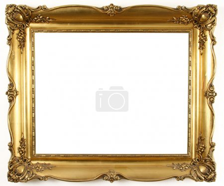 Photo for An old antique gold frame over white background - Royalty Free Image
