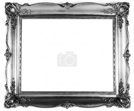 Photo for An old antique silver frame over white background - Royalty Free Image