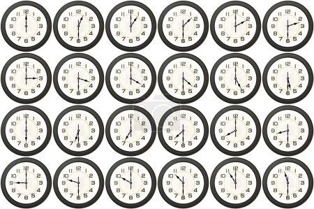 Photo pour 24 horloge avery demi-heure isolé sur fond blanc - image libre de droit