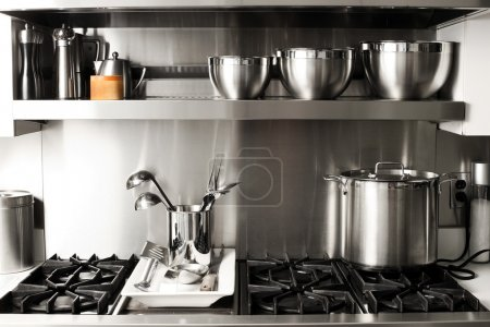Photo for Quite new kitchen stuff in silver black colors - Royalty Free Image